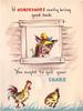 IF HORSESHOES REALLY BRING GOOD LUCK horse in perforated window YOU OUGHT TO GET YOUR SHARE rooster & hen below