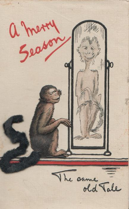 A MERRY SEASON in red top left, THE SAME OLD TALE monkey using mirror