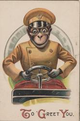 TO GREET YOU(T,G & Y illuminated) below chimpanzee in chauffeurs uniform driving car front