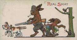 REAL SPORT above dressed rabbits going hunting, one smokes carryig gun, the other puts salt on birds tail