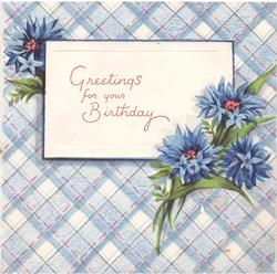 GREETINGS FOR YOUR BIRTHDAY on white, blue cornflowers, blue & white argyle background