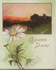 GOLDEN DAYS in gilt below watery evening rural scene, white daisies with yellow centres, pale green background