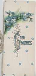 GOOD WISHES(G illminated) in blue below forget-me-nots, striped background