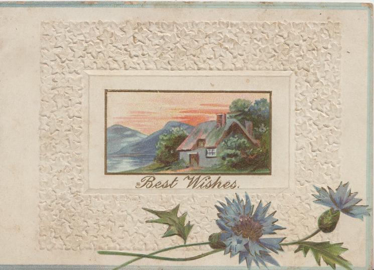 BEST WISHES below watery evening rural scene, cottage, blue cornflowers at base, embossed white marginal design