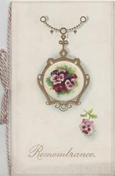 REMEMBRANCE below cirdular gilt & cameo pansy ornament