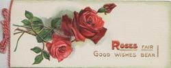 ROSES FAIR GOOD WISHES BEAR in gilt & red, 2 roses & bud left