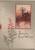 SINCERE GOOD WISHES below red bordered watery rural inset, lighted cottage