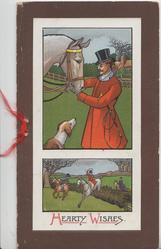 HEARTY WISHES below 2 insets, huntsman adjusts horses bridle, hound observes, the hunt jumps below