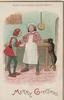 MERRY GREETINGS below as cook proudly watches man taste broth, dog steals turkey behind