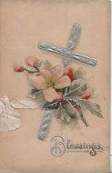 BLESSINGS in silver, apple blossom in front of silver cross