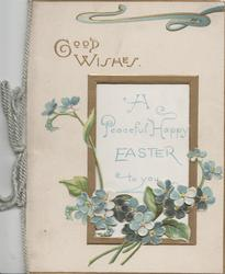 GOOD WISHES in gilt above gilt framed window, forget-me-nots below