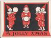 A JOLLY XMAS three children dressed as clowns, two hold tamborines
