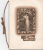 BEST WISHES on plaque, inset of woman and dog above