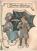 CHRISTMAS GREETINGS two girls in winter clothing, one holding umbrella