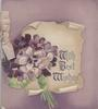 WITH BEST WISHES(illuminated) on cream scroll behind violets