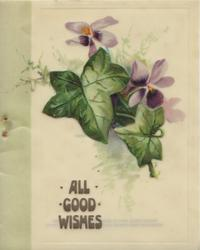 ALL GOOD WISHES below violets, prominent leaves
