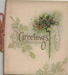 GREETINGS in gilt below berried holly, pale green background