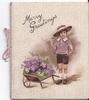 MERRY GREETINGS above boy in hat standing beside wheelbarrow of purple flowers