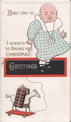 BOO-OO-O I WANTS TO BRING YOU CHRISTMAS GREETINGS baby holds string attached to toy horse