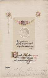 GOOD WISH WISHES FOR CHRISTMAS AND THE COMING YEAR white cameo rural inset of tree & church, pink roses above