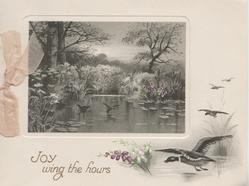 JOY WING THE HOURS below watery rural inset, ducks fly in from right