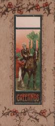 GREETINGS in gilt below huntsman adjusting horses harness as lady rides side-saddle, holly in brown marginal design