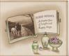 GOOD WISHES A CHAPTER FAIR OF BRIGHT AND HAPPY DAYS, inset on page of book above violets