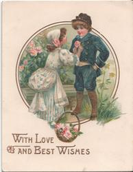 WITH LOVE AND BEST WISHES, girl in dress putting flower on boys lapel