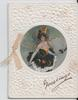 GREETINGS in gilt, inset of woman in witch costume holding broom
