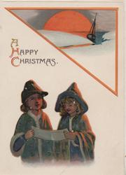 A HAPPY CHRISTMAS above 2 girls singing, triangular seascape upper right with setting sun