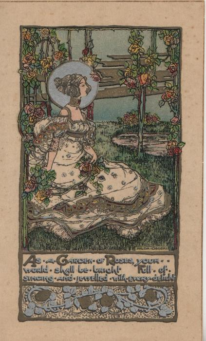 AS A GARDEN OF ROSES verse, woman facing right in oldstyle dress in garden of grass & roses