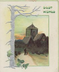 BEST WISHES in green above rural inset person & child walking towards lighted church in evening, silver tree