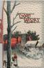 GOOD WISHES in red & gilt, evening winter rural scene, woman front left, winter tree, heavily embossed white background