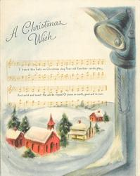 A CHRISTMAS WISH above sheet music with snowy village below, 2 bells right