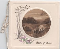 PATHS OF PEACE inset of man herding sheep, flowers and trees to left