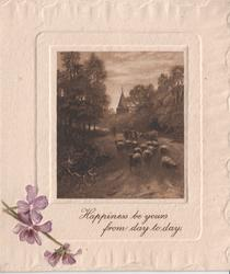 HAPPINESS BE YOURS FROM DAY TO DAY inset of sheep above, flowers in the bottom left