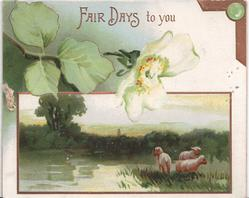 FAIR DAYS TO YOU inset of three sheep with exaggerated flowers above