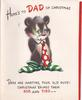HERE'S TO DAD ON CHRISTMAS bear wears tie and striped socks DADS ARE MARTYRS, POOR OLD GUYS ...