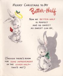 MERRY CHRISTMAS BETTER-HALF 2 white rabbits, 1 angel & 1 devil