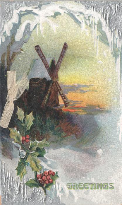 GREETINGS beside holly, rural winter scene, windmill in background
