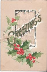 GREETINGS glittered, decorative holly