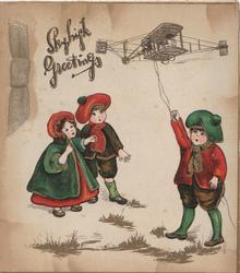 SKYHIGH GREETINGS, boy flies old style toy airplane, boy & girl watch