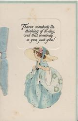 THERE'S SOMEBODY.......verse, girl in old style blue dress, bonnet, faces left