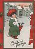 CHRISTMAS GREETINGS at base in black, girl holding letter walks towards postbox, snow scene