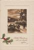 BLITHE CHRISTMAS SETS OUR HEARTS AGLOW, inset shepherd drives sheep across bridge, holly lower left