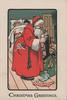 CHRISTMAS GREETINGS below Santa filling stockings watched by peeking shildren