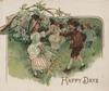 HAPPY DAYS children dance in garden, forget-me-nots above & behind