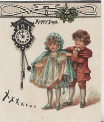 HAPPY DAYS above boy helping girl into coat-old style dress, clock on wall left, xxxxx lower left