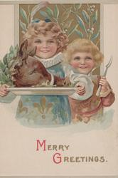 MERRY GREETINGS(M & G in red) in gilt below 2 children, one carries boar's head on plate