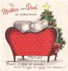 TO MOTHER AND DAD AT CHRISTMAS rear view of bears on red couch HERE'S A PAIR OF WISHES ...